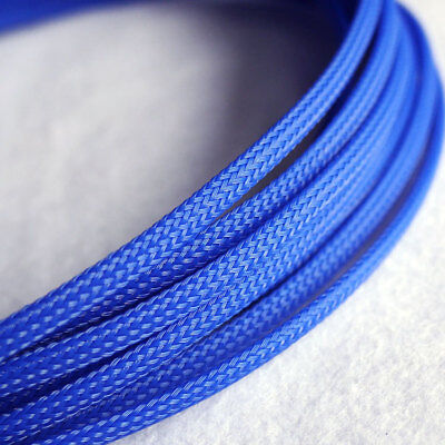 Expandable 3mm ~ 30mm Braided PET Cable Sleeving Blue High Density PC RC Modding