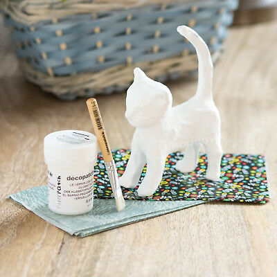 Decopatch Cat Model Mini Kit Glue Brush Patterned Paper Childrens Decoupage Pack