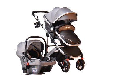 3 in 1 Grey Combi Stroller Travel System Baby Pram Pushchair Cover Aluminium