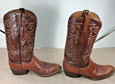 a288ad66 Lucchese Vintage Mens Cowboy Boots Leather & Lizard Sz 9C Made In San  Antonio Tx