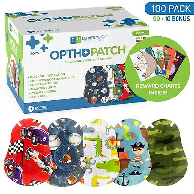 Kids Adhesive Eye Patches Fun Boys Design 90 + 10 Bandages Reward Chart