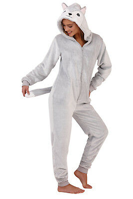 Womens 3D Husky Dog All In One Hooded Character Faux Fur Pyjamas Jumpsuit Size