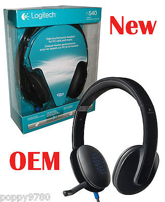 28923113f11 Logitech H540 USB Headset with Mic for PC Calls and Music 981-000510 - New