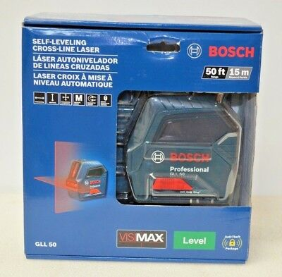 Bosch GLL 50 50ft Self-Leveling Cross-Line Laser Level New Factory Sealed
