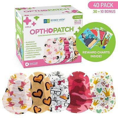 Kids Adhesive Eye Patches Fun Girls Design 30 + 10 Bandages Reward Chart