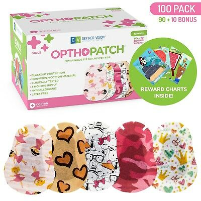 Kids Adhesive Eye Patches Fun Girls Design 90 + 10 Bandages Reward Chart