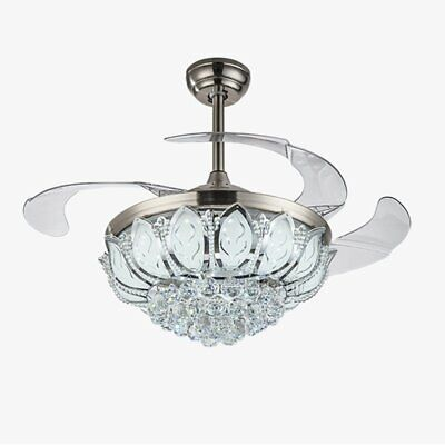 """42"""" Chrome Silver Remote Invisible Ceiling Fan Lamp Crystal LED Chandelier Light"""