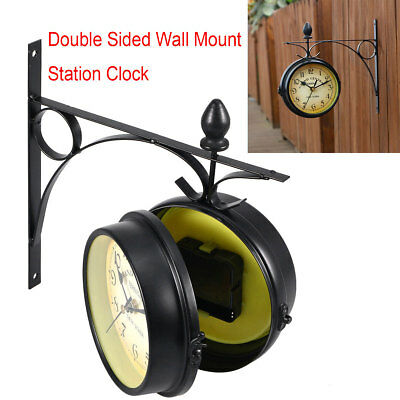 Outdoor Garden Paddington Station Wall Clock 22CM Double Sided Outside Bracket