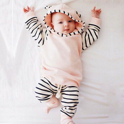 Kids Girls Soft Tracksuit Casual Striped Romper Jumpsuit Bodysuit Pajamas Outfit