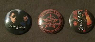 THE SISTERS OF MERCY Set of 3 Vintage 80's Pins / Badges Andrew Eldtritch Goth
