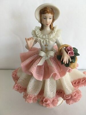 Dresden porcelain girl with flower basket lace figure  in pink 4 .5""