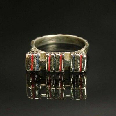 Antique Silver Turquoise Coral Inlay Sahrawi Tribal Bedouin Berber Ring sz 8.25