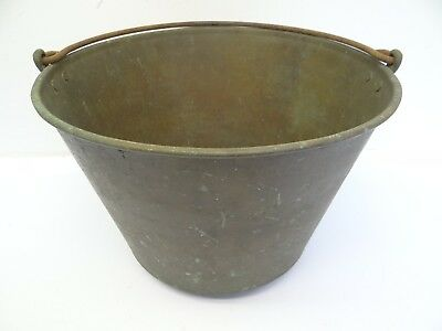 Antique Old Metal Brass Iron Handle 1866 Clubed Large Pail Bucket Used