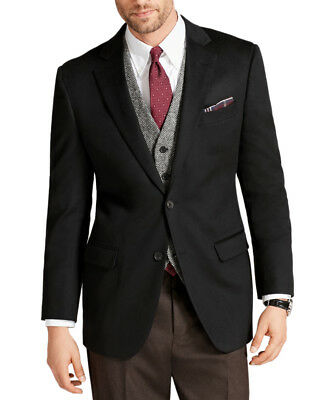 Brooks Brothers Mens Black Fitzgerald Fit Cashmere Two Button Blazer 48L 0953-1