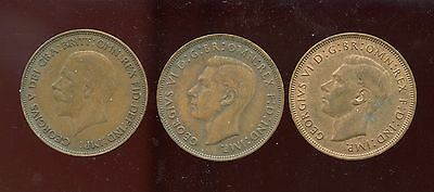 Great Britain 1 Penny 1936, 1945, 1947