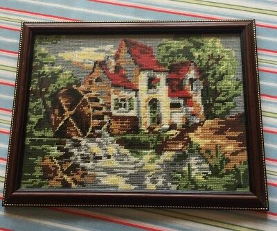 Vintage Handmade Tapestry, Cottage And Stream Scene, 28x37cm, Good Glass Frame