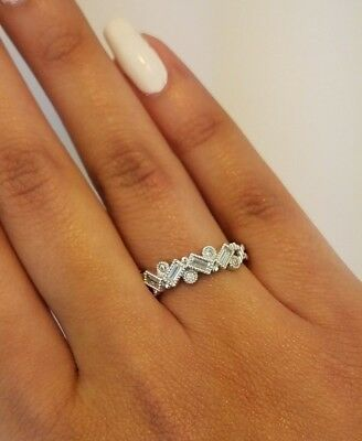 14K Solid White Gold 0.50 Ct Fancy Fashion Cocktail Band Ring Round Cut Diamond