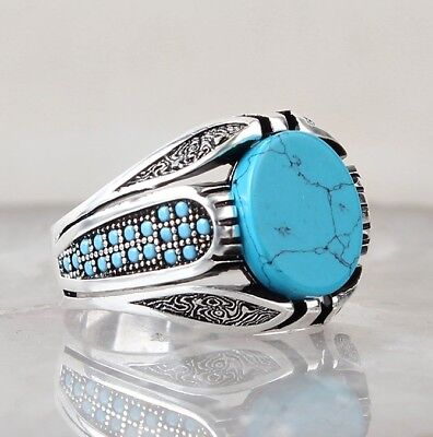 Turkish Handmade Turquoise Stone 925 Sterling Silver Mens SOLİD Ring US ALL SİZE
