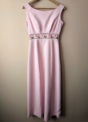 50s 60s vintage bridesmaids dress 10 8-10 pink embroidered long true original