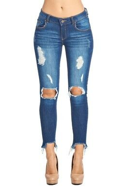 Blue Age Frayed Ankle Distressed Skinny Jeans