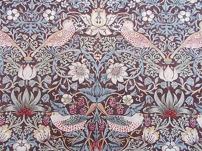 William Morris Curtain Fabric STRAWBERRY THIEF 1.7 METRES 170cm Chocolate/Slate