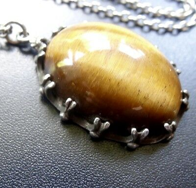 vintage hallmarked 1975 STERLING SILVER TIGERS EYE pendant chain necklace -N12