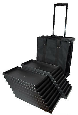Canvas Rolling Salesman Travel Case With 17 Wood Sample Display Trays Organizer