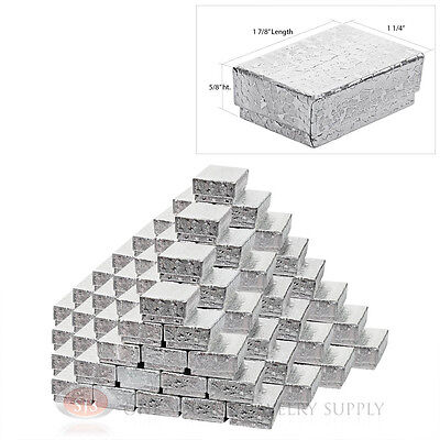 """100 Silver Foil Cotton Filled Gift Boxes 1 7/8"""" x 1 1/4"""" Charm Ring Jewelry Box"""