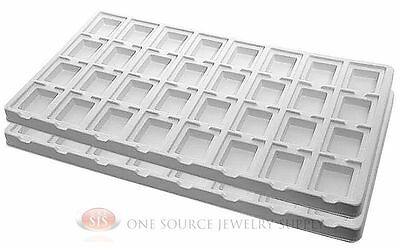 2 White Insert Tray Liners W/ 32 Compartment Earrings Organizer Jewelry Display