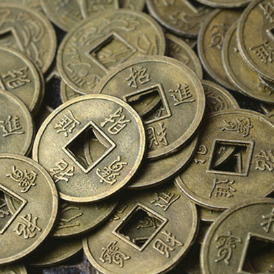 100Pcs Feng Shui Coins Ancient Chinese I Ching Coins For Health Wealth Charm SE