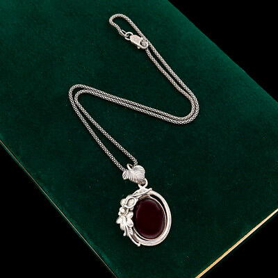 Antique Vintage Deco Sterling Silver Byzantine Bali Almandine Garnet Necklace