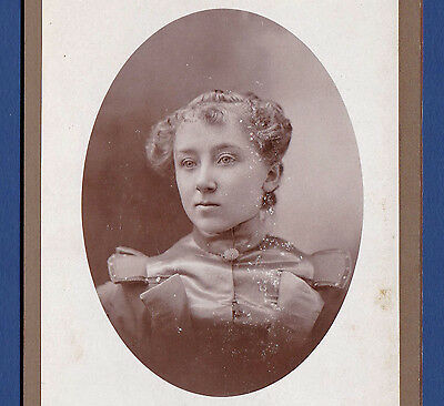 Clever Girl with a Wicked Smirk - 1890s Cabinet Photo - Oval Portrait