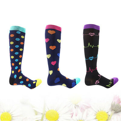 3 Pair Knee High Graduated Compression Socks Men Women Stocking Fit for Exercise
