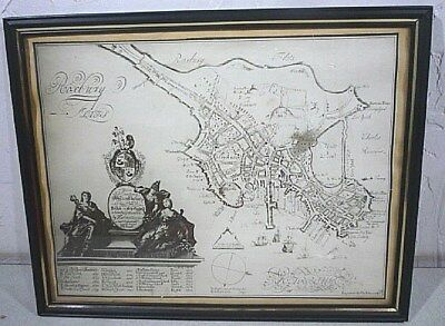 Antique 1630 MAP copy of Roxbury Flats, Roxbury Mass. Framed for display