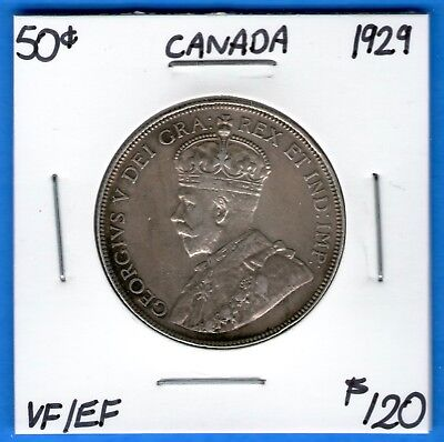 Canada 1929 50 Cents Fifty Cent Silver Coin - Nice VF/EF