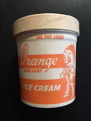 1960's  Orange Farms Dairy Ice Cream Pint Container for Vintage Display