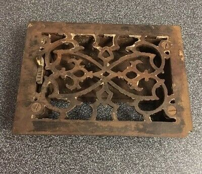 """Antique Cast Iron Victorian Grate Heating Ventilation Duct Intake 7-1/2""""x5-7/8"""""""
