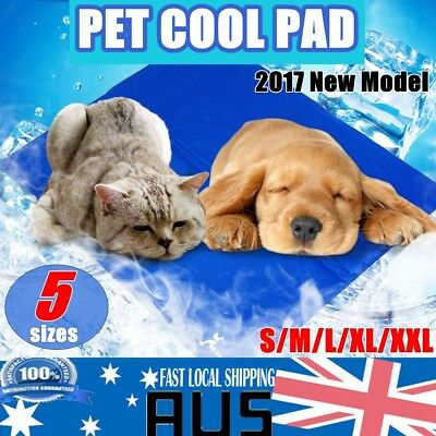 Blue Pet Cooling Bed Gel Mat Dog Cat Non-Toxic Cool Pad Puppy Cold Summer 5 Size