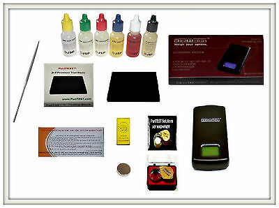 Gold and Silver Acid Solutions W Stone + Digital Jewelry Scale Eyeloupe and Bar