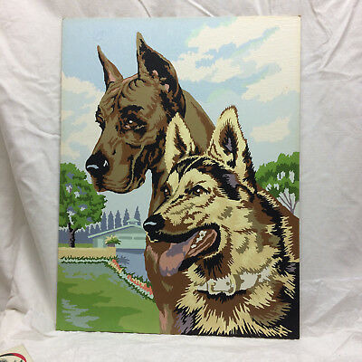 Vintage Painting of Dogs Paint by Numbers Finished German Shepherd Great Dane