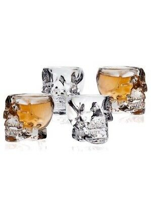 Klikel Skull Head 3D Clear Crystal 2 Oz. Whiskey Liquor Vodka Shot Glasses Sh...