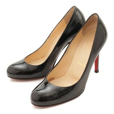 f5a193df053 Authentic Christian Louboutin Patent Enamel Pumps Black 35 Grade Ab Used-At