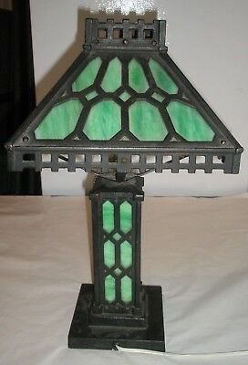 Vintage Antique Green Slag Glass Lamp Cast Iron Arts & Crafts