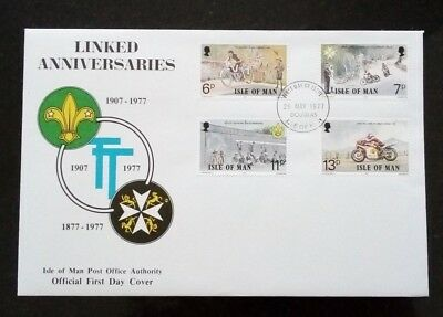 Isle of Man 1977 First Day Cover - Linked Anniversaries - Boy Scouts/TT/St Johns