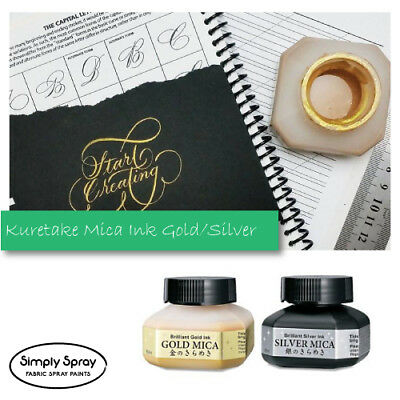 ZIG Kuretake Gold/Silver Mica Calligraphy Ink Traditional Japanese-60ml FREEPOST