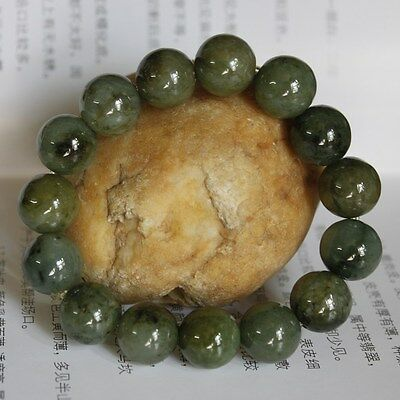 100% Natural (Grade A) Untreated Oily Green JADE Beads Bracelet 13mm #Br399