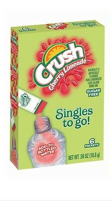 6 Boxes Singles To Go Drink Mix Crush Cherry Limeade 36 Packets Total