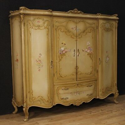 Closet venetian furniture wardrobe lacquered wood painting camera antique style