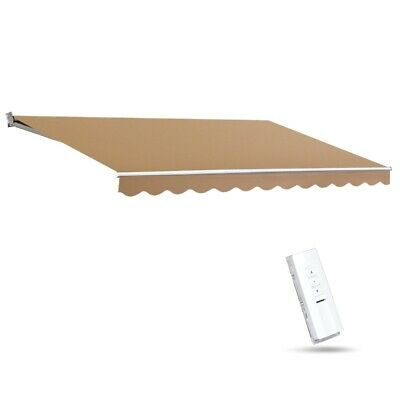 Instahut Motorised Folding Arm Awning Retractable Outdoor Beige Sunshade 4X3M