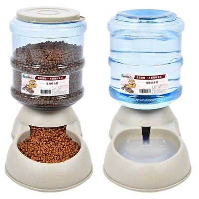 Pet Dog Puppy Cat Automatic Water Dispenser Food Dish Bowl Feeder 3.8L